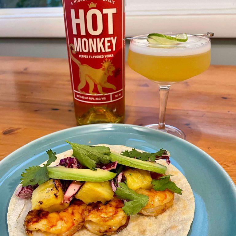 hot monkey-honey glazed shrimp and pineapple tacos