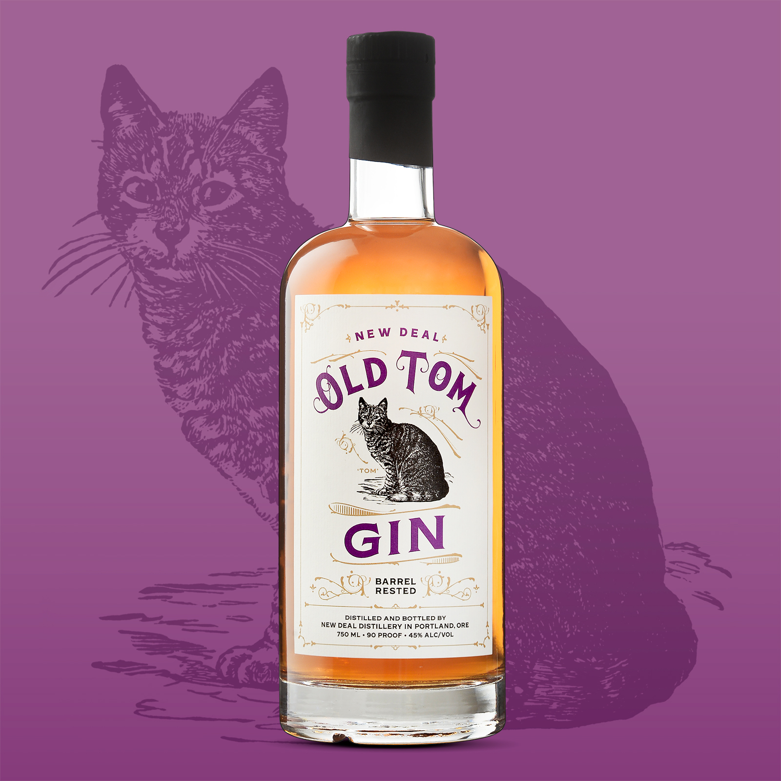 Old Tom Gin on purple background