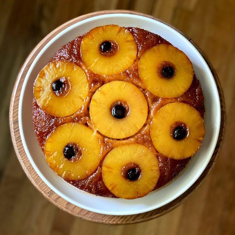 spiced rum pineapple upside down cake