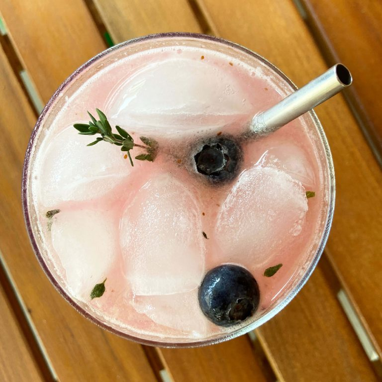 new deal blueberry thyme vodka smash herbaceous summer cocktail